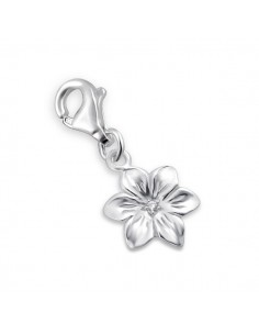 Charm Argent Fleur Avec mousqueton et zircon
