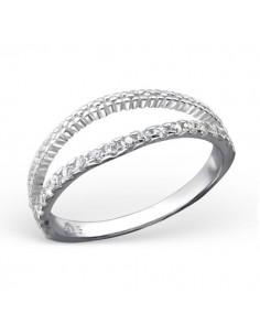 Bague double anneau pierre et sculpter