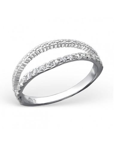 Bague double anneau pierre et lisse