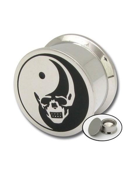 Piercing d'oreille tunnel acier vissable yin yang