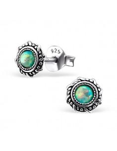 Boucles oreilles turquoise puce antique