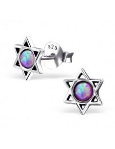 Boucle oreille argent étoile et opale