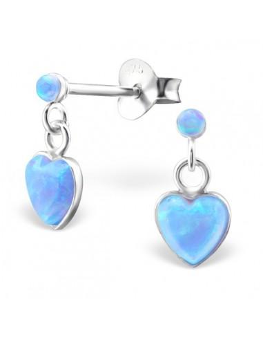 Boucle oreilles puce pendentif coeur et opale