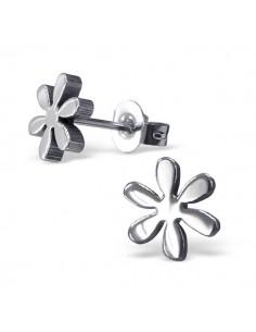 Jolie fleur en acier boucles d'oreilles