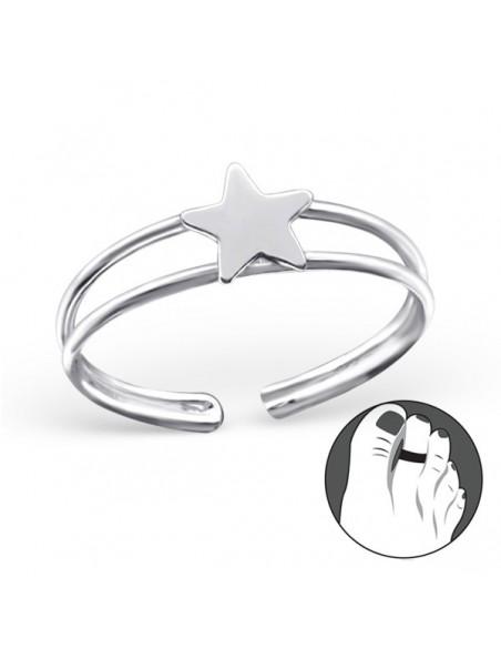 Bague d'orteil argent avec étoile