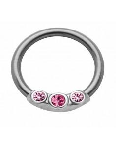 Piercing anneau captif serti de pierre en acier