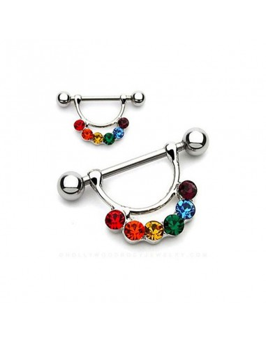 piercing mamelons arc en ciel : gem de couleur