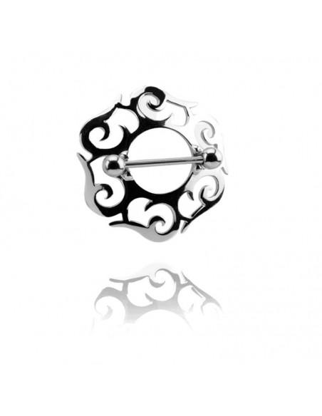 Piercing téton gothique acier