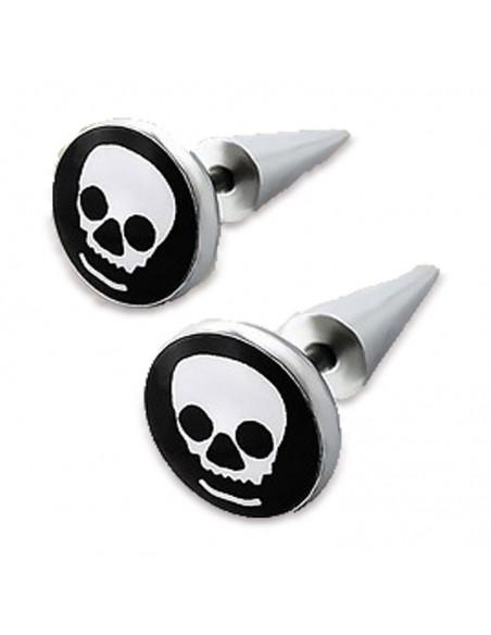 Faux piercing plug et spike tête de mort