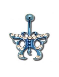Piercing de nombril acier anodisé fantaisie papillon