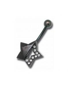 Piercing de nombril acier noir banana etoile avec diamant