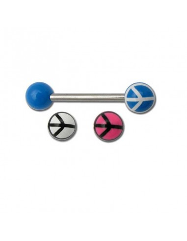 piercing barbell acier - boule acrylique peace and love