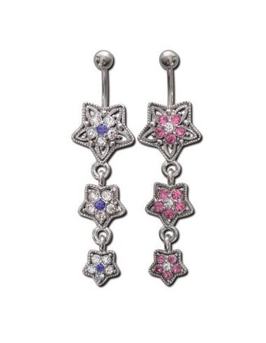 bijou Piercing nombril celtique pendant avec zircon de couleur
