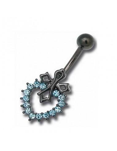 Piercing de nombril acier noir croix et coeur en cristal