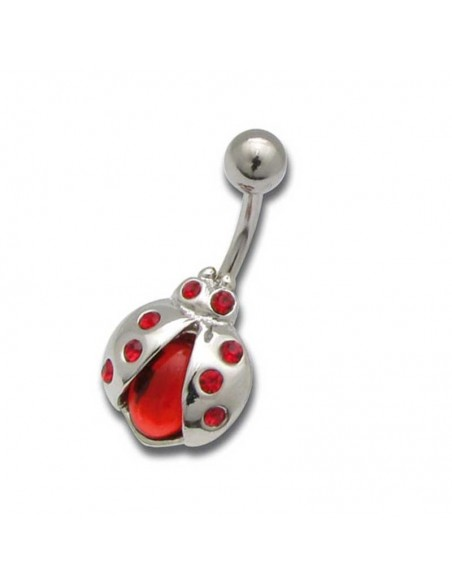 Piercing nombril acier motif coccinnel