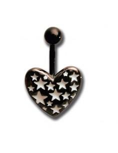 Body Piercing nombril noir coeur et étoiles