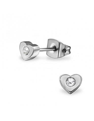 Boucles d'oreilles coeur et strass