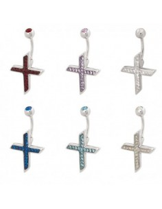 Piercing nombril Croix  Evolution Swarovski