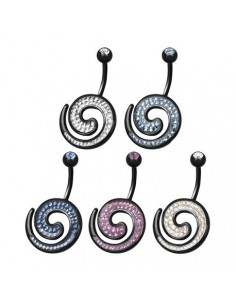 Piercing nombril Escargot Crystal Evolution Swarovski Noir