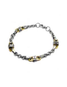 Bracelet Homme Acier Brossé brillant or et métal