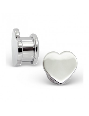 Piercing oreille tunnel forme de coeur