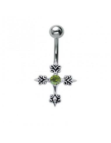 piercing nombril argent croix et strass