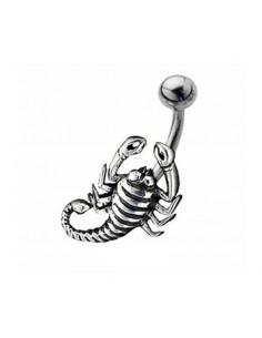 Piercing nombril Scorpion acier signe Zodiac