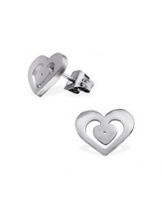 Boucle oreille acier coeur dessiner en double