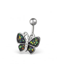 Piercing de nombril papillon couleur epoxy