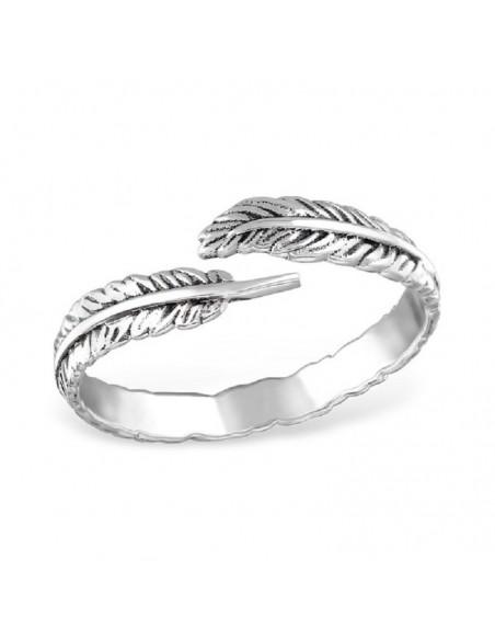 Bague anneau argent embout deux feuilles
