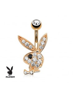 Piercing nombril Playboy plaqué or rose