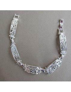 Bracelet femme a maille rectanculaire sculpté