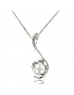 Collier argent avec perle nacré blanche et brillante.