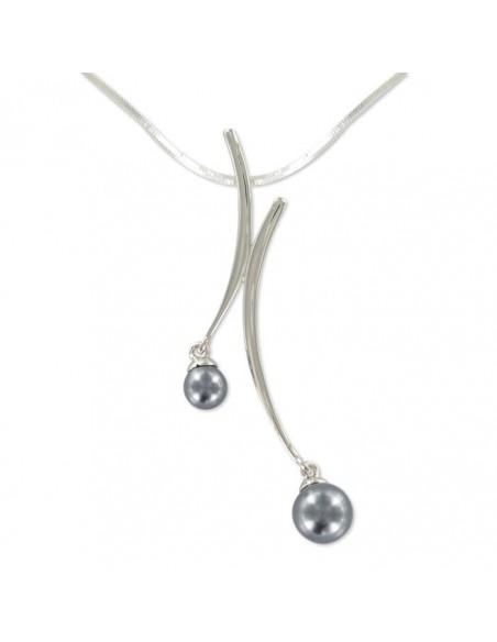 Collier argent empierré de deux perles grises
