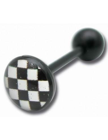 Piercing vissable - Barbell flexible logo DAMIER