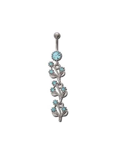 Piercing nombril pendentif strass et bleu