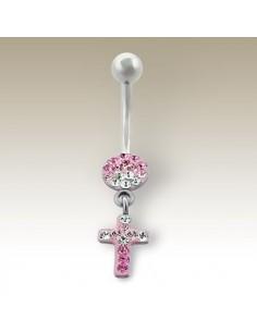 Piercing nombril pendentif croix serti