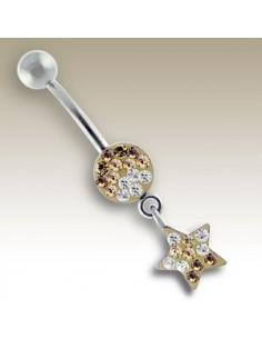 Piercing nombril pendentif d'étoiles et pierres.