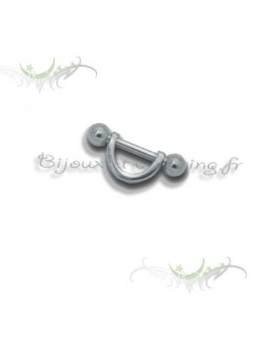 Piercing téton barre droite demi-cercle